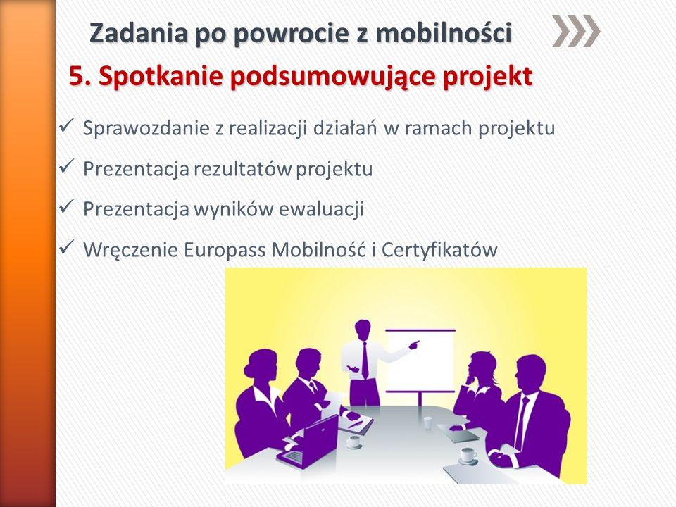 Zadania po powrocie z mobilności 5. Spotkanie podsumowujące projekt Sprawozdanie z realizacji działań w ramach projektu Prezentacja rezultatów projekt