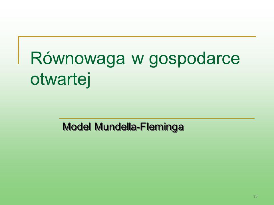 15 Równowaga w gospodarce otwartej Model Mundella-Fleminga Model Mundella-Fleminga
