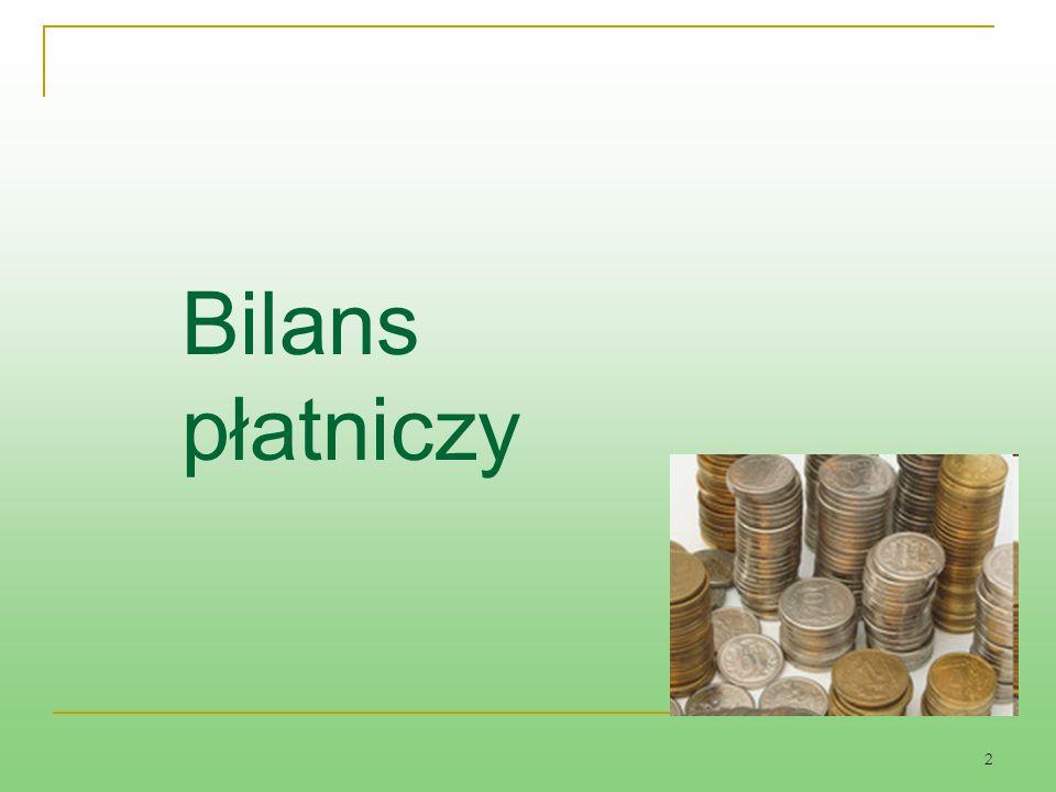 3 Bilans płatniczy jest usystematyzowanym zestawieniem wszystkich transakcji zawieranych pomiędzy mieszkańcami danego kraju a zagranicą jest narzędziem oceny sytuacji gospodarczej w minionym okresie oraz służy do określania polityki ekonomicznej władz w przyszłości; W Polsce jest sporządzany zgodnie z zaleceniami międzynarodowych instytucji finansowych W Polsce jest sporządzany zgodnie z zaleceniami międzynarodowych instytucji finansowych (np.