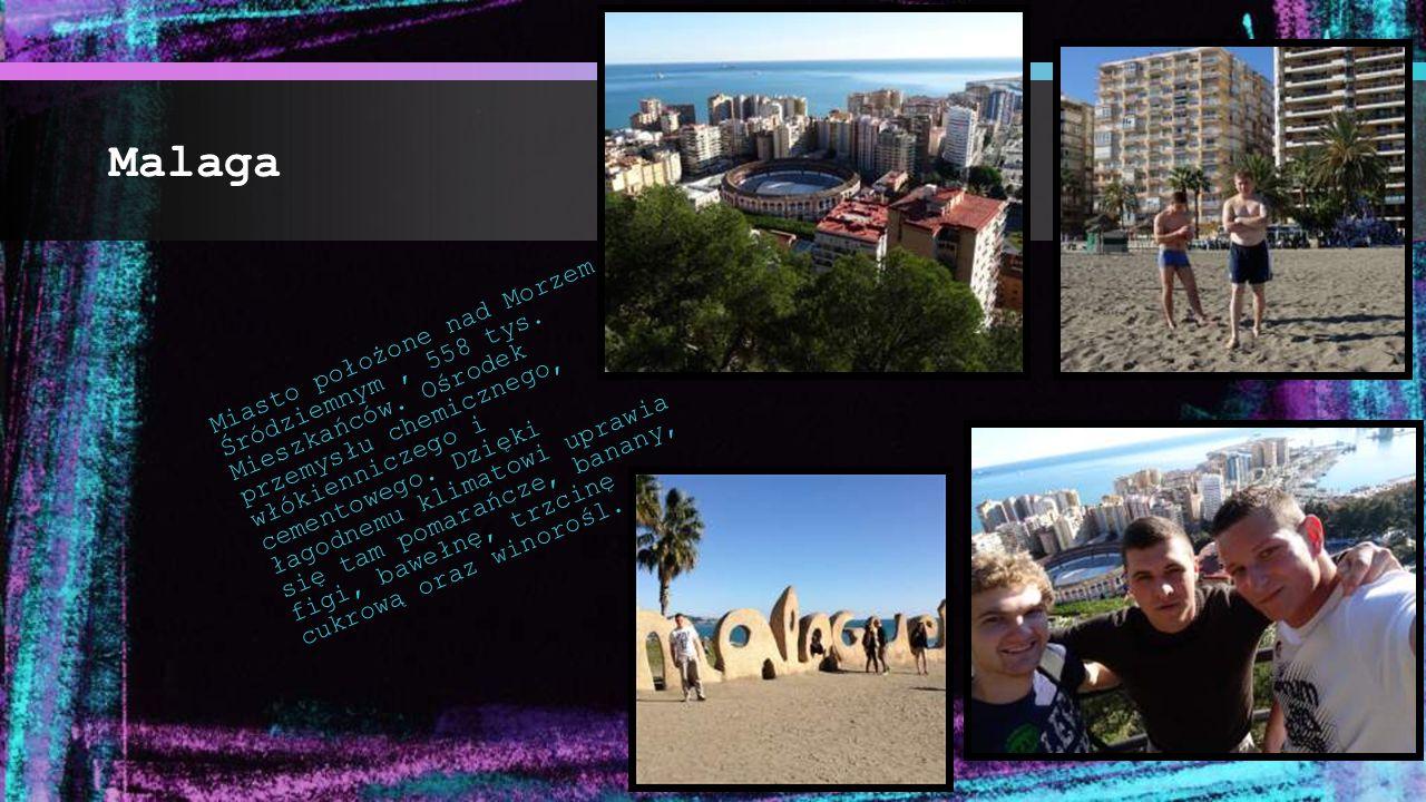 Malaga Miasto położone nad Morzem Śródziemnym, 558 tys. Mieszkańców. Ośrodek przemysłu chemicznego, włókienniczego i cementowego. Dzięki łagodnemu kli