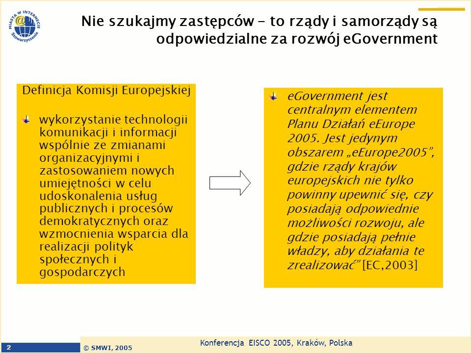 Konferencja EISCO 2005, Kraków, Polska © SMWI, 2005 2 Nie szukajmy zastępców - to rządy i samorządy są odpowiedzialne za rozwój eGovernment Definicja