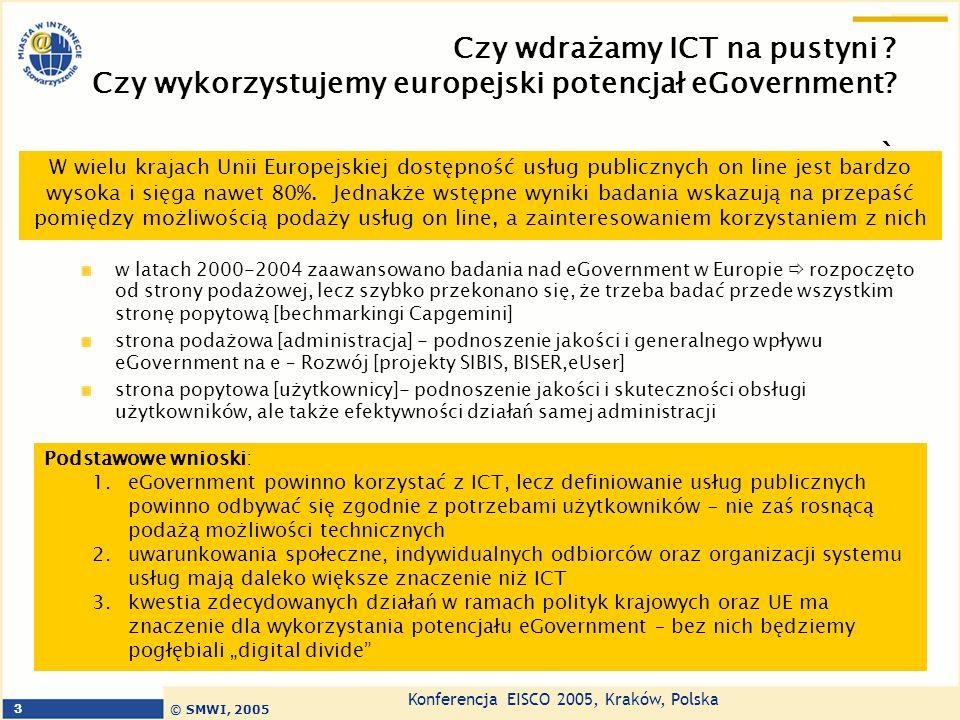 Konferencja EISCO 2005, Kraków, Polska © SMWI, 2005 3 Czy wdrażamy ICT na pustyni ? Czy wykorzystujemy europejski potencjał eGovernment? ` w latach 20