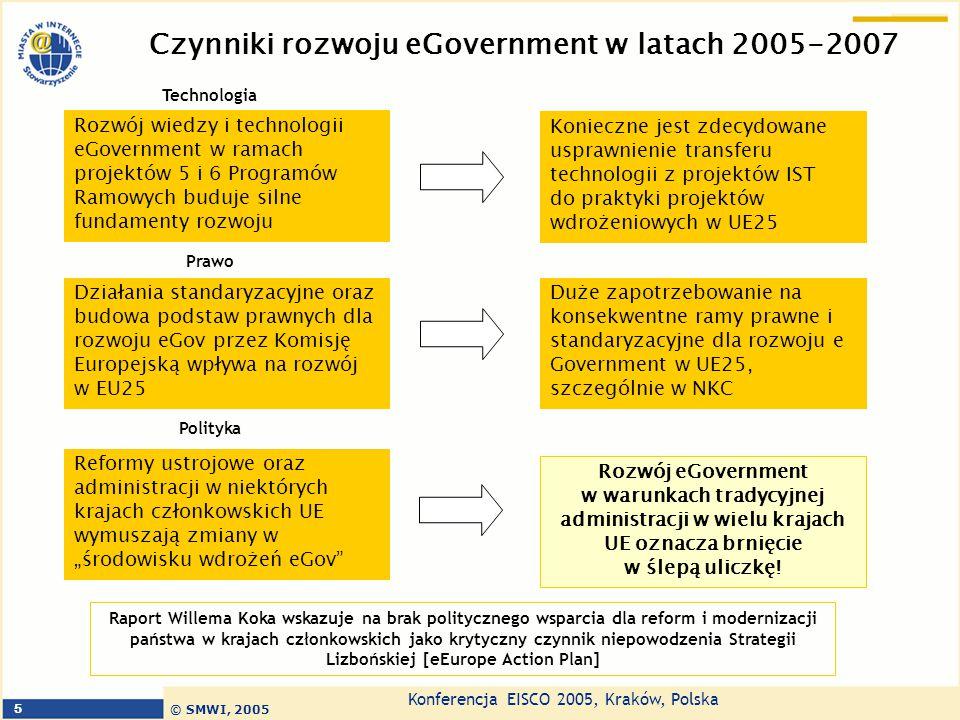 """Konferencja EISCO 2005, Kraków, Polska © SMWI, 2005 6 eGovernment może stać się czynnikiem rozwoju UE, ale konieczne są reformy ustrojowe i modernizacja administracji Zorientowanie na usługi Funkcjonalność – użyteczność dla mieszkańca Usługi standardowe i oceniane przez rynek Administracja oparta na wiedzy – nie manufaktura produktów Administracja transparentna Demokratyzacja zapewnienie równości szans Większa wrażliwość na środowisko, bezpieczeństwo, jakość zarządzania Większa mobilność ludzi Większa ilość wolnego czasu u mieszkańców Model agencyjnego świadczenia usług – administracja usług publicznych Model bazujący na efektywności ekonomicznej """"Urząd przychodzi z usługami do obywatela Urzędnicy zarządzają podażą usług Nowe priorytety, polityki, idee, usługi."""