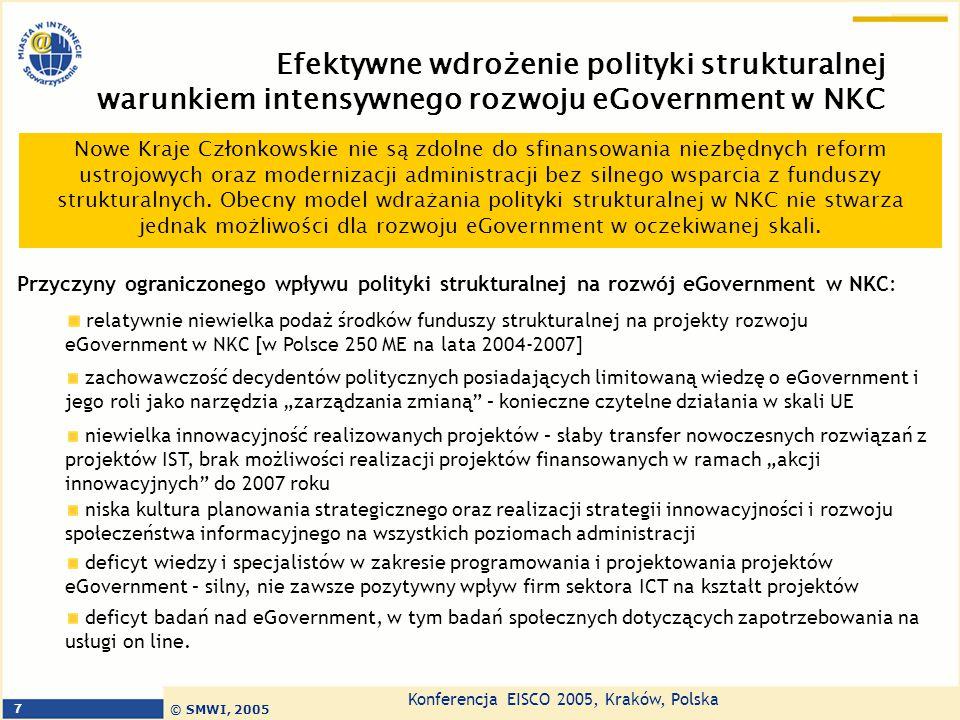 Konferencja EISCO 2005, Kraków, Polska © SMWI, 2005 8 Jak wdrażać efektywnie eGovernment w najbliższych latach w Nowych Krajach Członkowskich – punkt widzenia SMWI Problematyka eGovernment powinna stać się priorytetem horyzontalnym strategii rozwoju na różnych poziomach zarządzania państwem: centralnym, regionalnym i lokalnym.