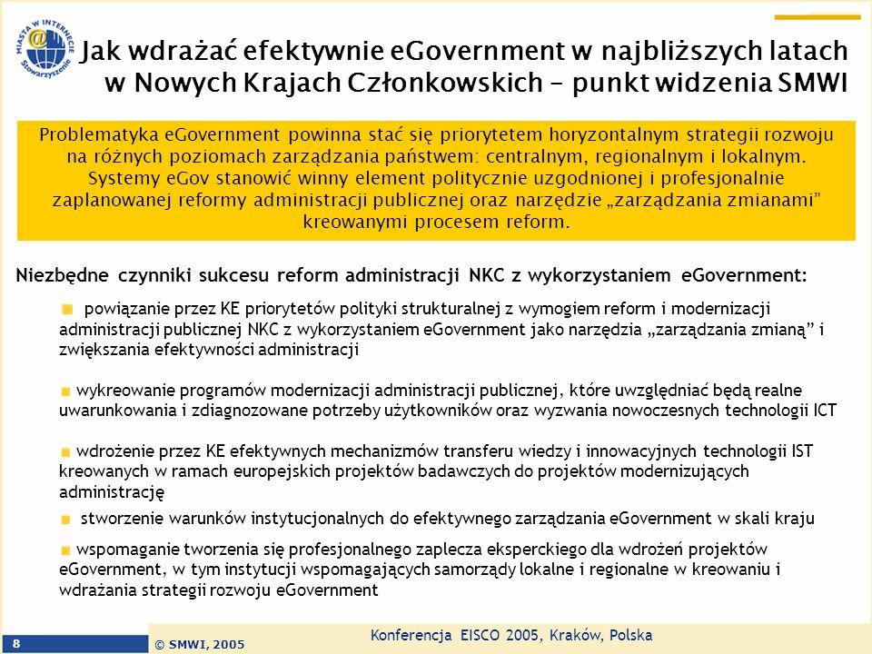 Konferencja EISCO 2005, Kraków, Polska © SMWI, 2005 8 Jak wdrażać efektywnie eGovernment w najbliższych latach w Nowych Krajach Członkowskich – punkt