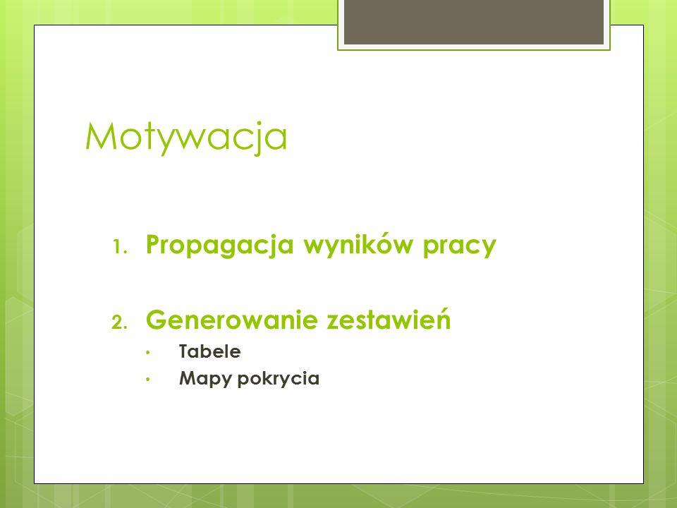 Motywacja 1. Propagacja wyników pracy 2. Generowanie zestawień Tabele Mapy pokrycia