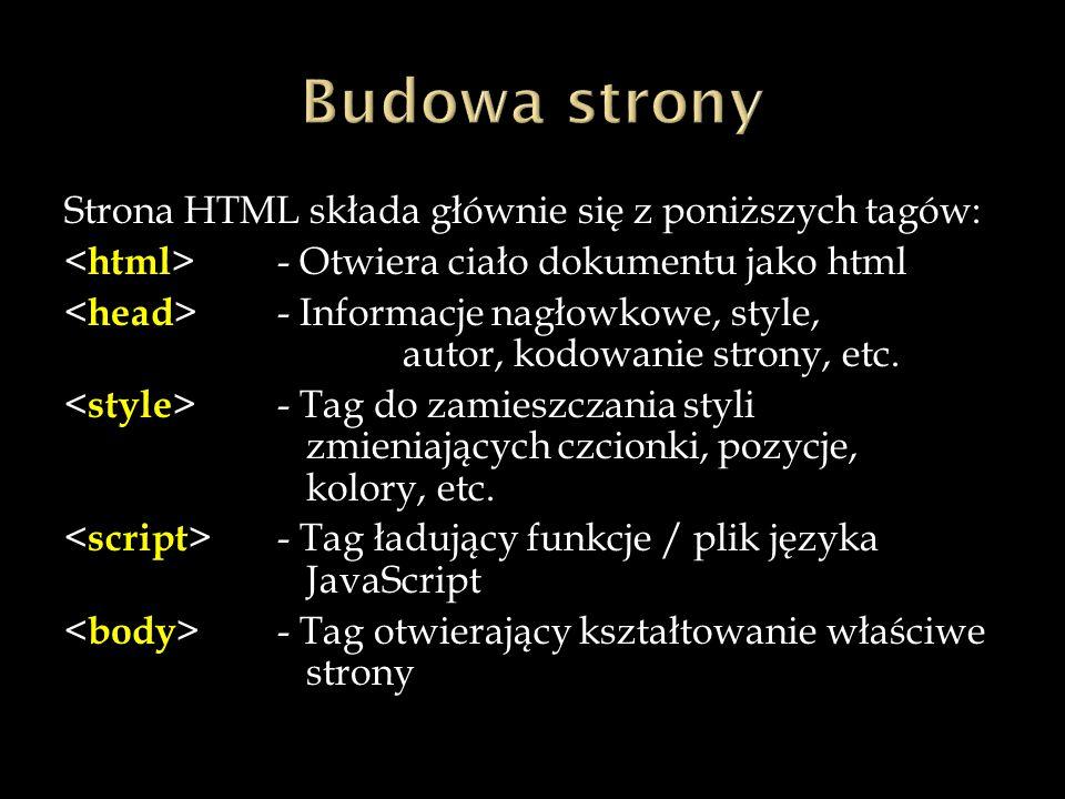 Strona HTML składa głównie się z poniższych tagów: - Otwiera ciało dokumentu jako html - Informacje nagłowkowe, style, autor, kodowanie strony, etc.
