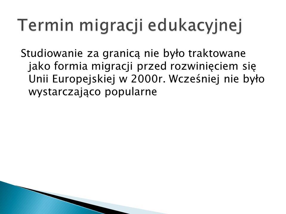 Studiowanie za granicą nie było traktowane jako formia migracji przed rozwinięciem się Unii Europejskiej w 2000r.