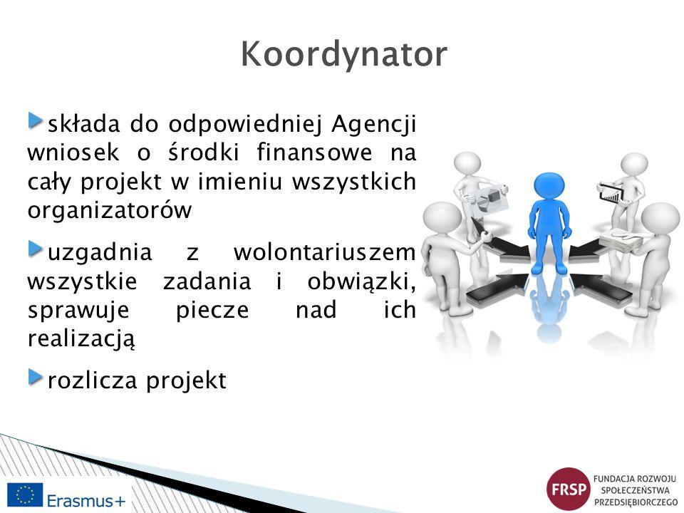 Koordynator składa do odpowiedniej Agencji wniosek o środki finansowe na cały projekt w imieniu wszystkich organizatorów uzgadnia z wolontariuszem wszystkie zadania i obwiązki, sprawuje piecze nad ich realizacją rozlicza projekt