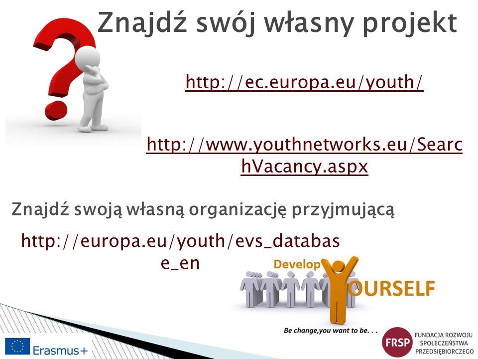 http://ec.europa.eu/youth/ http://www.youthnetworks.eu/Searc hVacancy.aspx Znajdź swoją własną organizację przyjmującą http://europa.eu/youth/evs_data