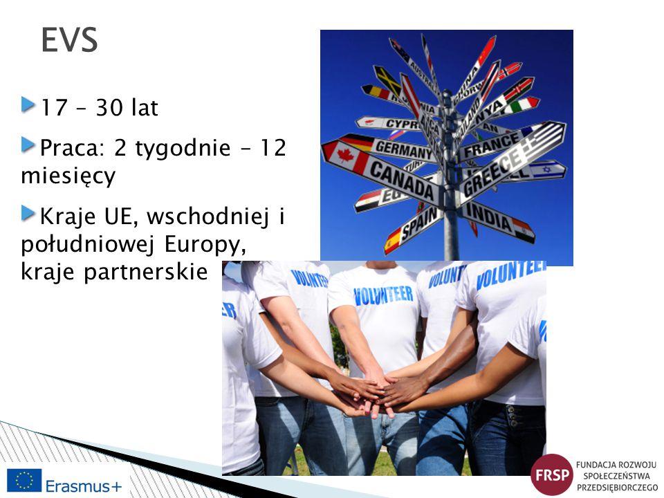 EVS 17 – 30 lat Praca: 2 tygodnie – 12 miesięcy Kraje UE, wschodniej i południowej Europy, kraje partnerskie