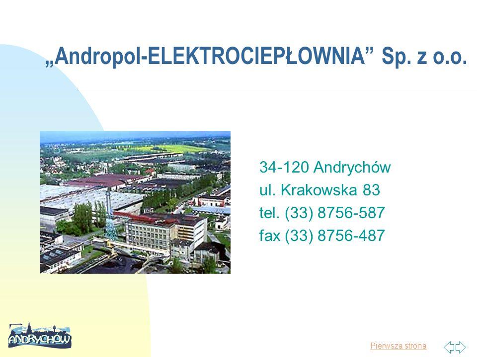 """Pierwsza strona """"Andropol-ELEKTROCIEPŁOWNIA"""" Sp. z o.o. 34-120 Andrychów ul. Krakowska 83 tel. (33) 8756-587 fax (33) 8756-487"""
