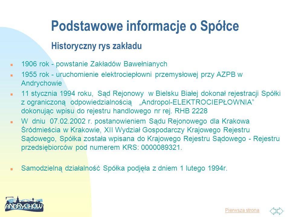 Pierwsza strona Historyczny rys zakładu n 1906 rok - powstanie Zakładów Bawełnianych n 1955 rok - uruchomienie elektrociepłowni przemysłowej przy AZPB