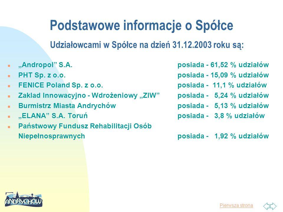 """Pierwsza strona Udziałowcami w Spółce na dzień 31.12.2003 roku są: n """"Andropol"""" S.A.posiada - 61,52 % udziałów n PHT Sp. z o.o.posiada - 15,09 % udzia"""