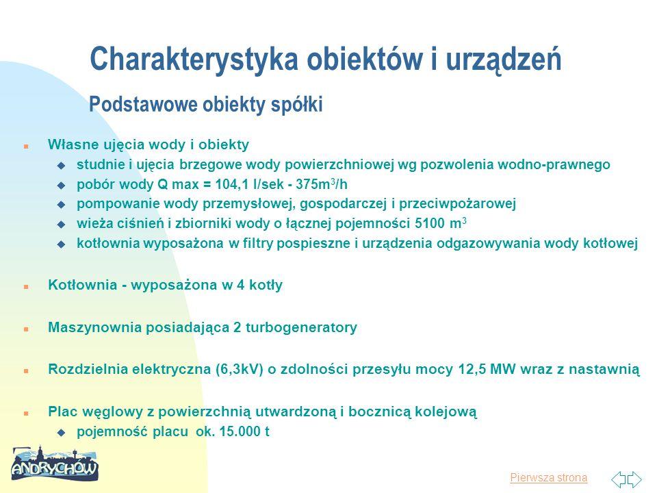 Pierwsza strona Charakterystyka obiektów i urządzeń Podstawowe obiekty spółki n Własne ujęcia wody i obiekty u studnie i ujęcia brzegowe wody powierzchniowej wg pozwolenia wodno-prawnego u pobór wody Q max = 104,1 l/sek - 375m 3 /h u pompowanie wody przemysłowej, gospodarczej i przeciwpożarowej u wieża ciśnień i zbiorniki wody o łącznej pojemności 5100 m 3 u kotłownia wyposażona w filtry pospieszne i urządzenia odgazowywania wody kotłowej n Kotłownia - wyposażona w 4 kotły n Maszynownia posiadająca 2 turbogeneratory n Rozdzielnia elektryczna (6,3kV) o zdolności przesyłu mocy 12,5 MW wraz z nastawnią n Plac węglowy z powierzchnią utwardzoną i bocznicą kolejową u pojemność placu ok.