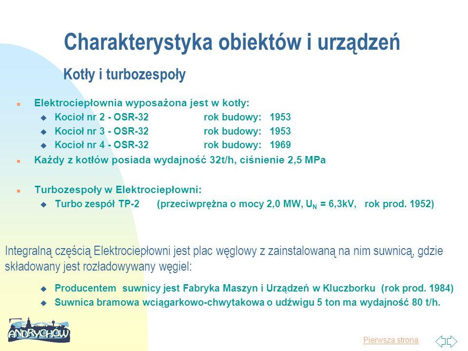 Pierwsza strona Charakterystyka obiektów i urządzeń Kotły i turbozespoły n Elektrociepłownia wyposażona jest w kotły: u Kocioł nr 2 - OSR-32rok budowy: 1953 u Kocioł nr 3 - OSR-32rok budowy: 1953 u Kocioł nr 4 - OSR-32rok budowy: 1969 n Każdy z kotłów posiada wydajność 32t/h, ciśnienie 2,5 MPa n Turbozespoły w Elektrociepłowni: u Turbo zespół TP-2(przeciwprężna o mocy 2,0 MW, U N = 6,3kV, rok prod.