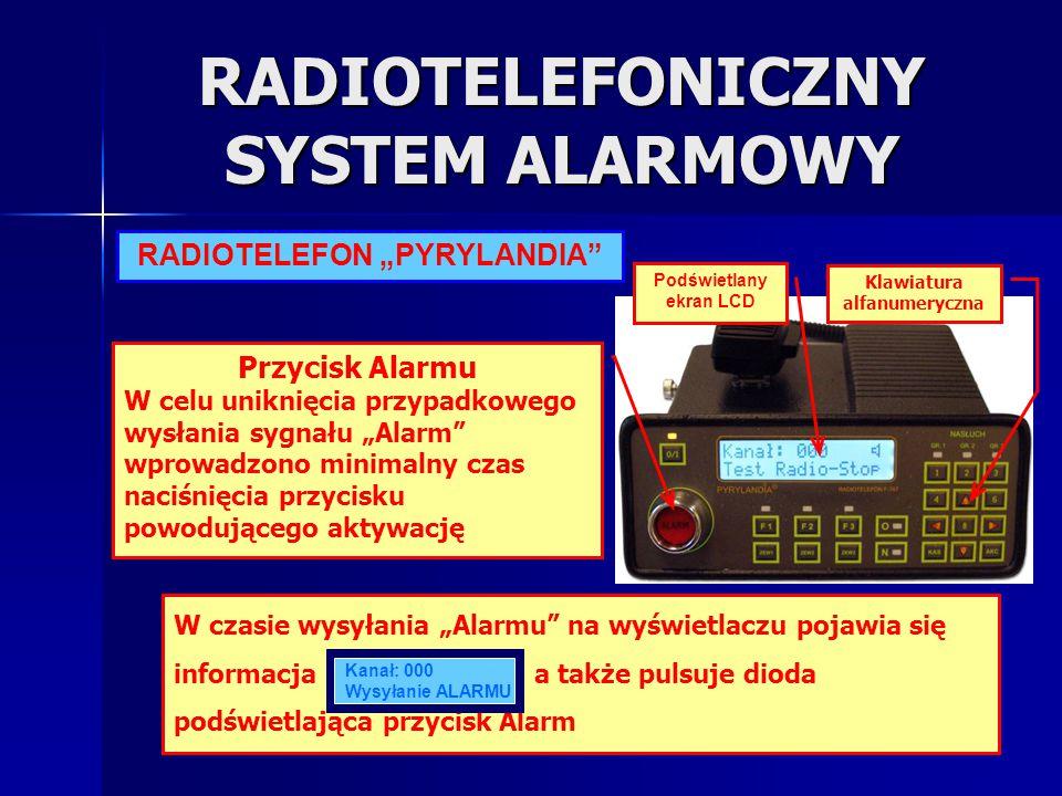 """RADIOTELEFONICZNY SYSTEM ALARMOWY RADIOTELEFON """"PYRYLANDIA"""" Podświetlany ekran LCD Przycisk Alarmu W celu uniknięcia przypadkowego wysłania sygnału """"A"""