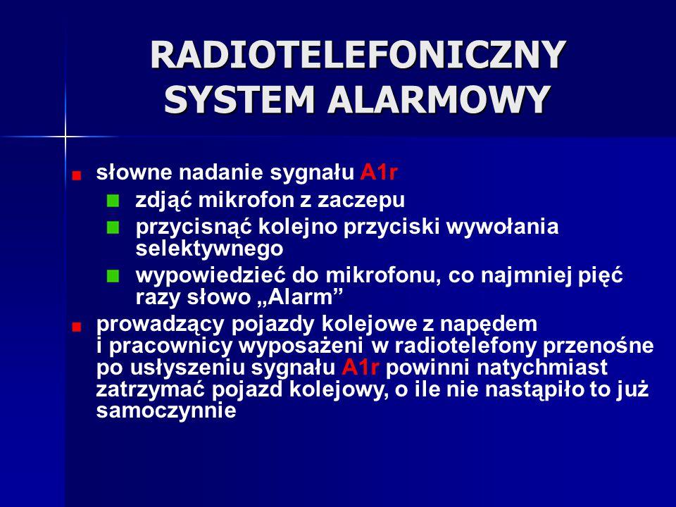 RADIOTELEFONICZNY SYSTEM ALARMOWY słowne nadanie sygnału A1r zdjąć mikrofon z zaczepu przycisnąć kolejno przyciski wywołania selektywnego wypowiedzieć