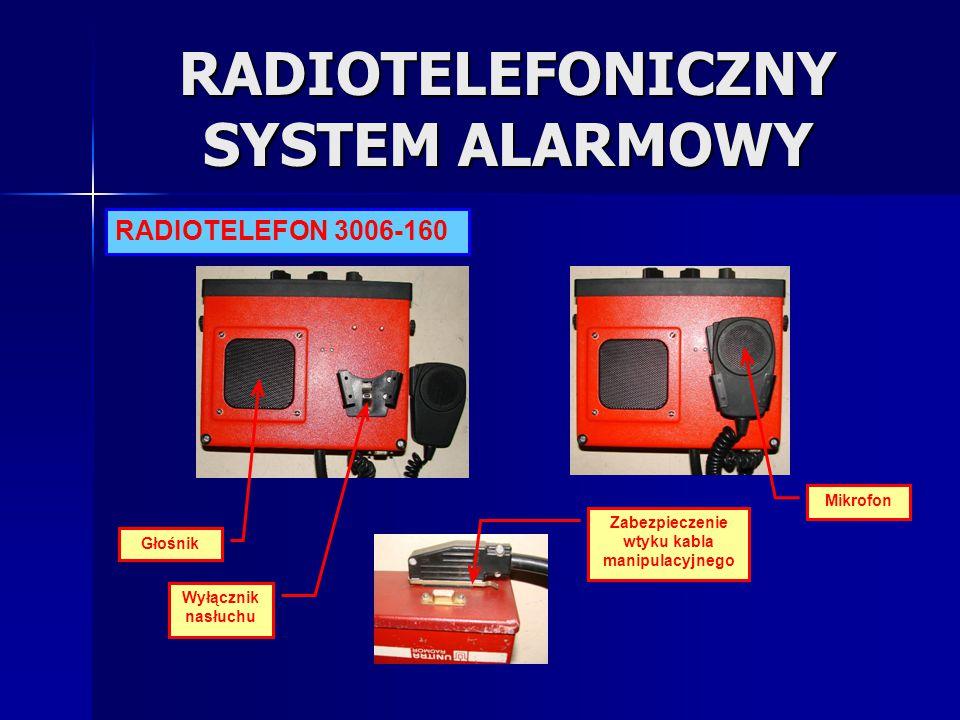 RADIOTELEFONICZNY SYSTEM ALARMOWY Głośnik Wyłącznik nasłuchu Zabezpieczenie wtyku kabla manipulacyjnego Mikrofon RADIOTELEFON 3006-160