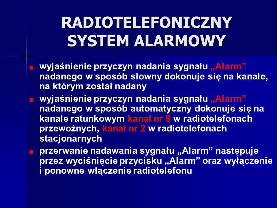 """RADIOTELEFONICZNY SYSTEM ALARMOWY wyjaśnienie przyczyn nadania sygnału """"Alarm"""" nadanego w sposób słowny dokonuje się na kanale, na którym został nadan"""