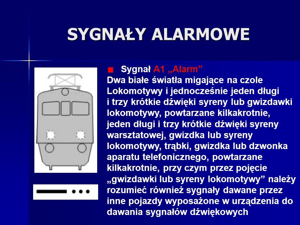 """SYGNAŁY ALARMOWE Sygnał A1 """"Alarm"""" Dwa białe światła migające na czole Lokomotywy i jednocześnie jeden długi i trzy krótkie dźwięki syreny lub gwizdaw"""