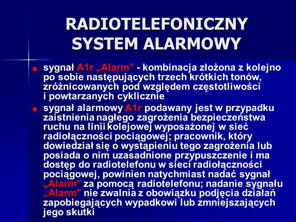 """RADIOTELEFONICZNY SYSTEM ALARMOWY sygnał A1r """"Alarm"""" - kombinacja złożona z kolejno po sobie następujących trzech krótkich tonów, zróżnicowanych pod w"""