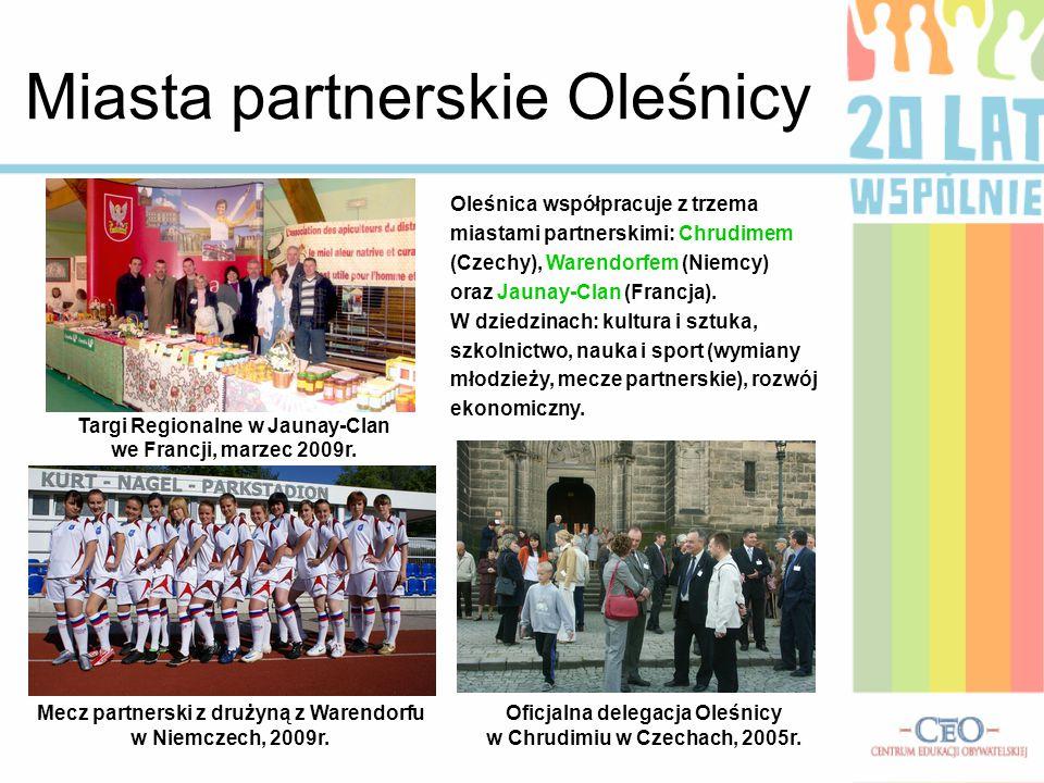 Miasta partnerskie Oleśnicy Oleśnica współpracuje z trzema miastami partnerskimi: Chrudimem (Czechy), Warendorfem (Niemcy) oraz Jaunay-Clan (Francja).