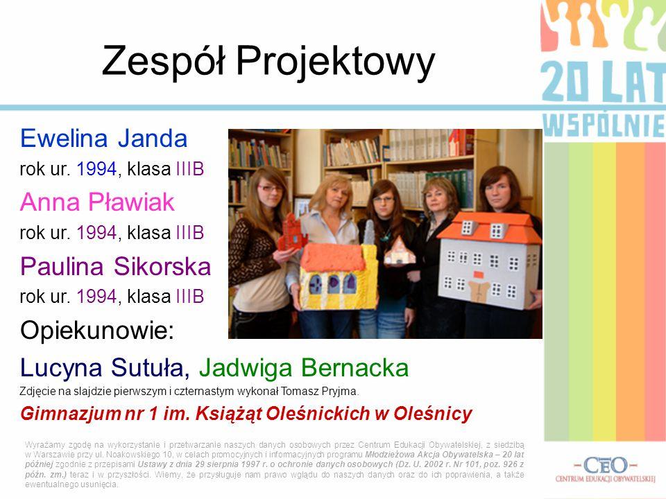 Ewelina Janda rok ur.1994, klasa IIIB Anna Pławiak rok ur.
