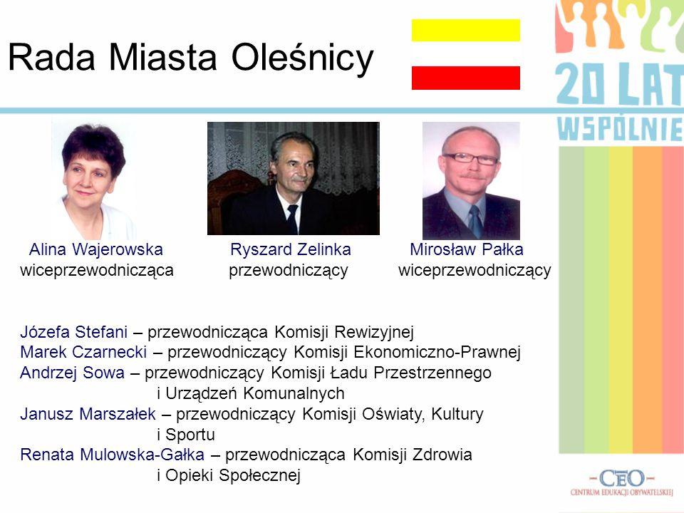 Rada Miasta Oleśnicy Alina Wajerowska Ryszard Zelinka Mirosław Pałka wiceprzewodnicząca przewodniczący wiceprzewodniczący Józefa Stefani – przewodnicz