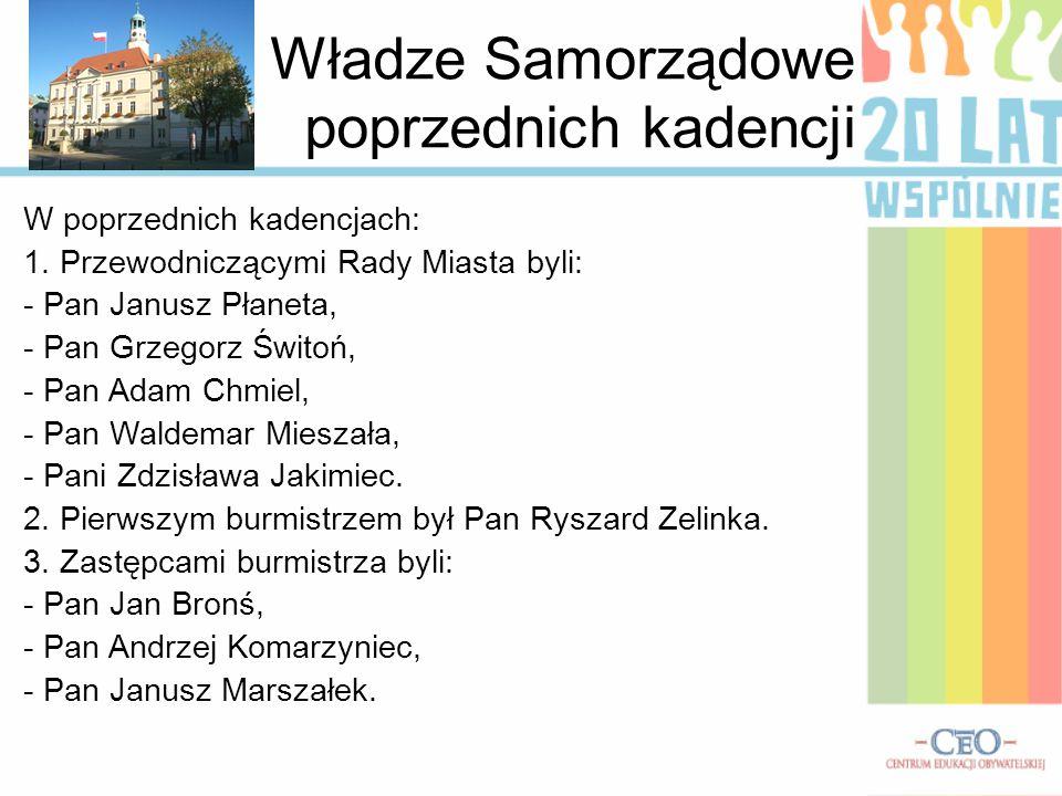 Władze Samorządowe poprzednich kadencji W poprzednich kadencjach: 1. Przewodniczącymi Rady Miasta byli: - Pan Janusz Płaneta, - Pan Grzegorz Świtoń, -