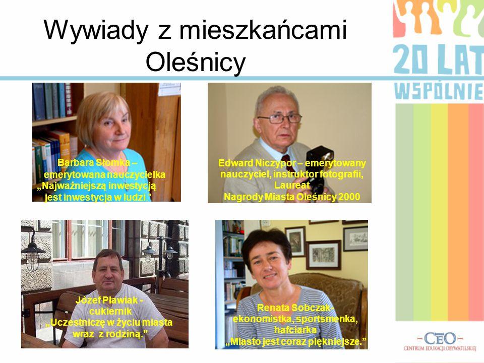 """Wywiady z mieszkańcami Oleśnicy Barbara Słomka – emerytowana nauczycielka """"Najważniejszą inwestycją jest inwestycja w ludzi."""" Edward Niczypor – emeryt"""