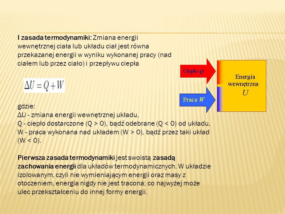 I zasada termodynamiki: Zmiana energii wewnętrznej ciała lub układu ciał jest równa przekazanej energii w wyniku wykonanej pracy (nad ciałem lub przez ciało) i przepływu ciepła gdzie: ΔU - zmiana energii wewnętrznej układu, Q - ciepło dostarczone (Q > 0), bądź odebrane (Q 0), bądź przez taki układ (W < 0).