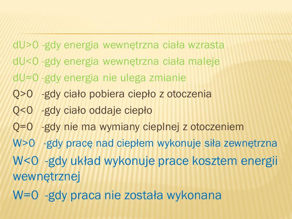 dU>0 -gdy energia wewnętrzna ciała wzrasta dU<0 -gdy energia wewnętrzna ciała maleje dU=0 -gdy energia nie ulega zmianie Q>0 -gdy ciało pobiera ciepło