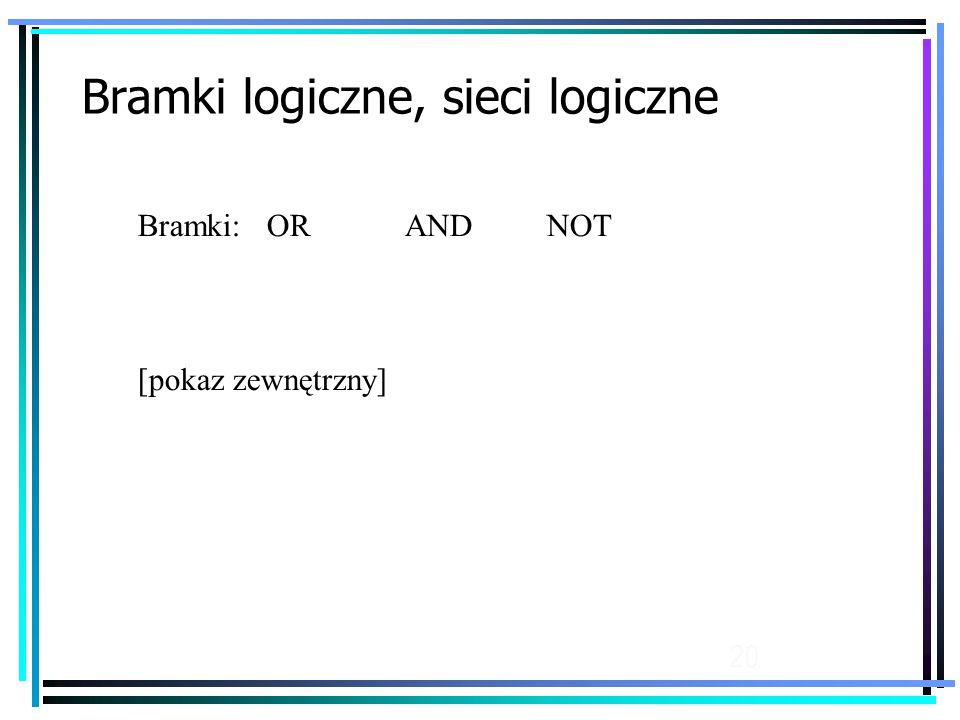 20 Bramki logiczne, sieci logiczne Bramki: OR AND NOT [pokaz zewnętrzny]
