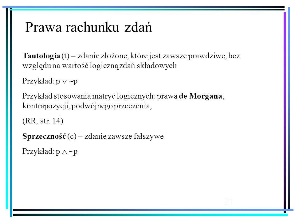 21 Tautologia (t) – zdanie złożone, które jest zawsze prawdziwe, bez względu na wartość logiczną zdań składowych Przykład: p   p Przykład stosowania matryc logicznych: prawa de Morgana, kontrapozycji, podwójnego przeczenia, (RR, str.
