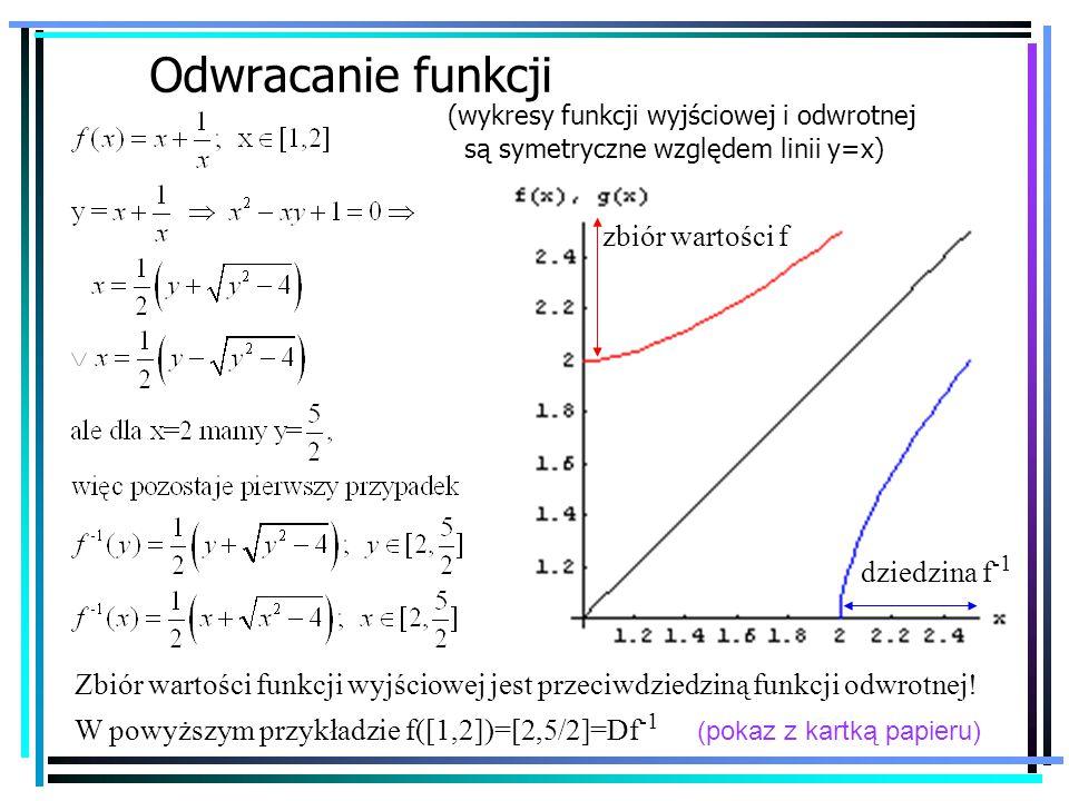 39 Odwracanie funkcji (wykresy funkcji wyjściowej i odwrotnej są symetryczne względem linii y=x) Zbiór wartości funkcji wyjściowej jest przeciwdziedziną funkcji odwrotnej.