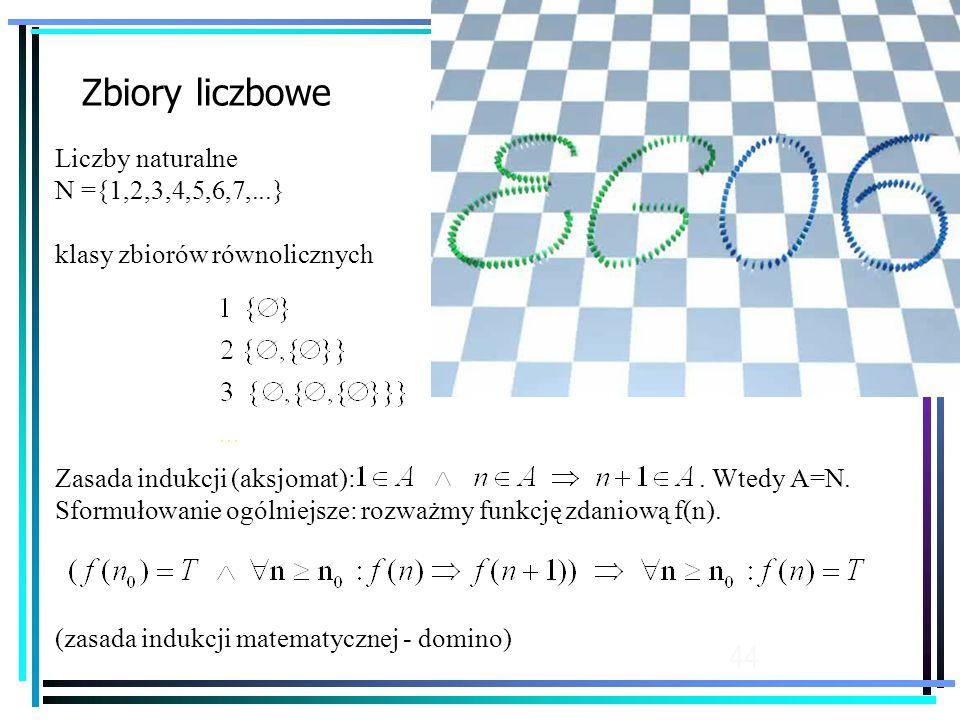 44 Zbiory liczbowe Liczby naturalne N ={1,2,3,4,5,6,7,...} klasy zbiorów równolicznych Zasada indukcji (aksjomat):.