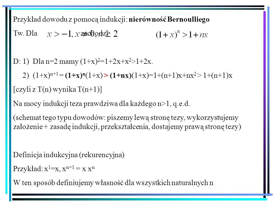 45 Przykład dowodu z pomocą indukcji: nierówność Bernoulliego Tw.