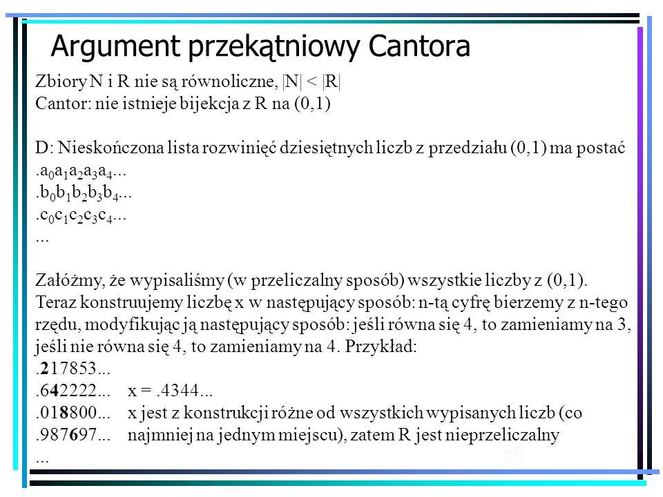 56 Argument przekątniowy Cantora Zbiory N i R nie są równoliczne, |N| < |R| Cantor: nie istnieje bijekcja z R na (0,1) D: Nieskończona lista rozwinięć dziesiętnych liczb z przedziału (0,1) ma postać.a 0 a 1 a 2 a 3 a 4....b 0 b 1 b 2 b 3 b 4....c 0 c 1 c 2 c 3 c 4......