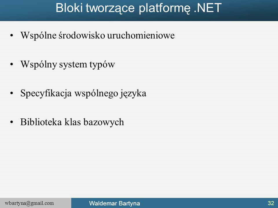 wbartyna@gmail.com Waldemar Bartyna Bloki tworzące platformę.NET Wspólne środowisko uruchomieniowe Wspólny system typów Specyfikacja wspólnego języka