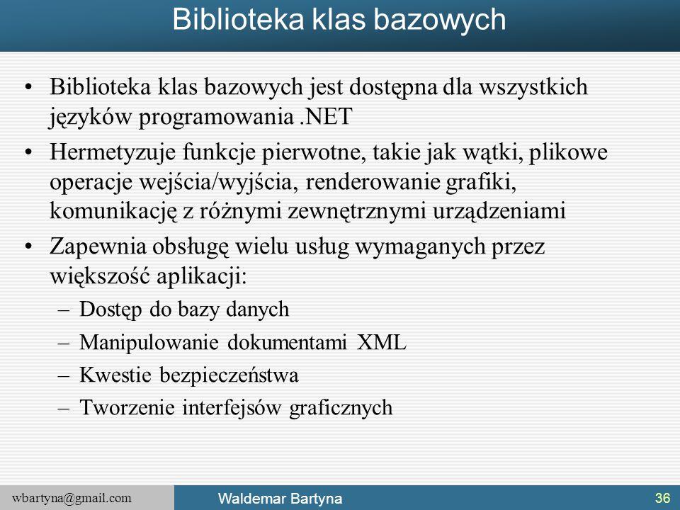 wbartyna@gmail.com Waldemar Bartyna Biblioteka klas bazowych Biblioteka klas bazowych jest dostępna dla wszystkich języków programowania.NET Hermetyzu