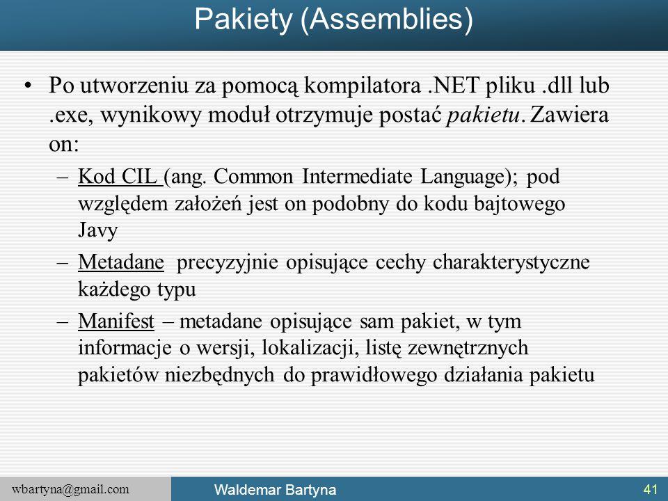 wbartyna@gmail.com Waldemar Bartyna Pakiety (Assemblies) Po utworzeniu za pomocą kompilatora.NET pliku.dll lub.exe, wynikowy moduł otrzymuje postać pakietu.