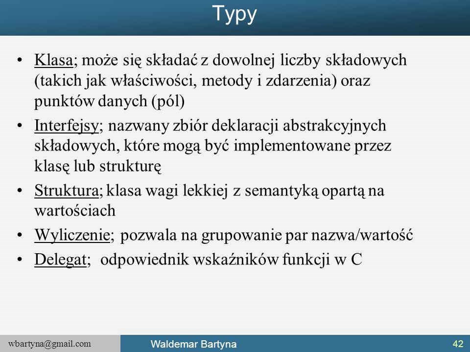wbartyna@gmail.com Waldemar Bartyna Typy Klasa; może się składać z dowolnej liczby składowych (takich jak właściwości, metody i zdarzenia) oraz punktó