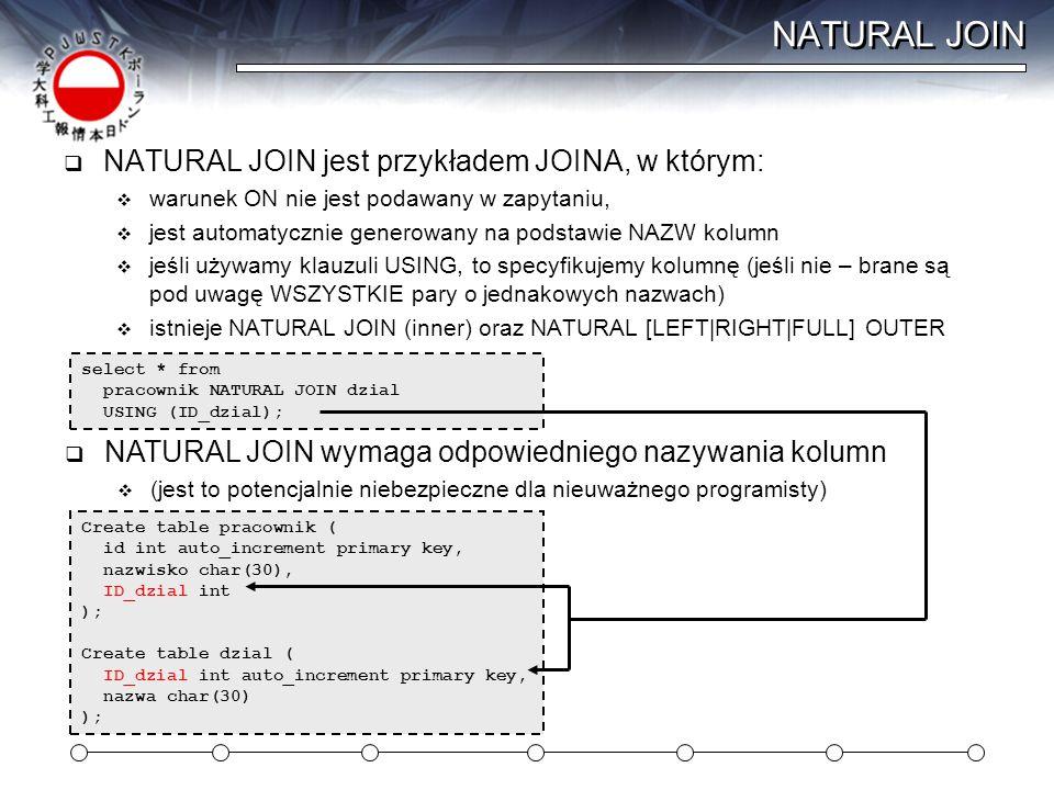 NATURAL JOIN  NATURAL JOIN jest przykładem JOINA, w którym:  warunek ON nie jest podawany w zapytaniu,  jest automatycznie generowany na podstawie