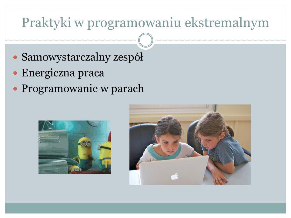 Praktyki w programowaniu ekstremalnym Samowystarczalny zespół Energiczna praca Programowanie w parach