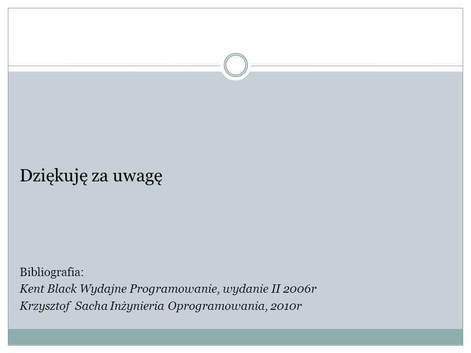 Dziękuję za uwagę Bibliografia: Kent Black Wydajne Programowanie, wydanie II 2006r Krzysztof Sacha Inżynieria Oprogramowania, 2010r