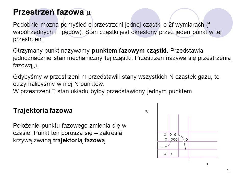 10 Przestrzeń fazowa  Podobnie można pomyśleć o przestrzeni jednej cząstki o 2f wymiarach (f współrzędnych i f pędów). Stan cząstki jest określony pr