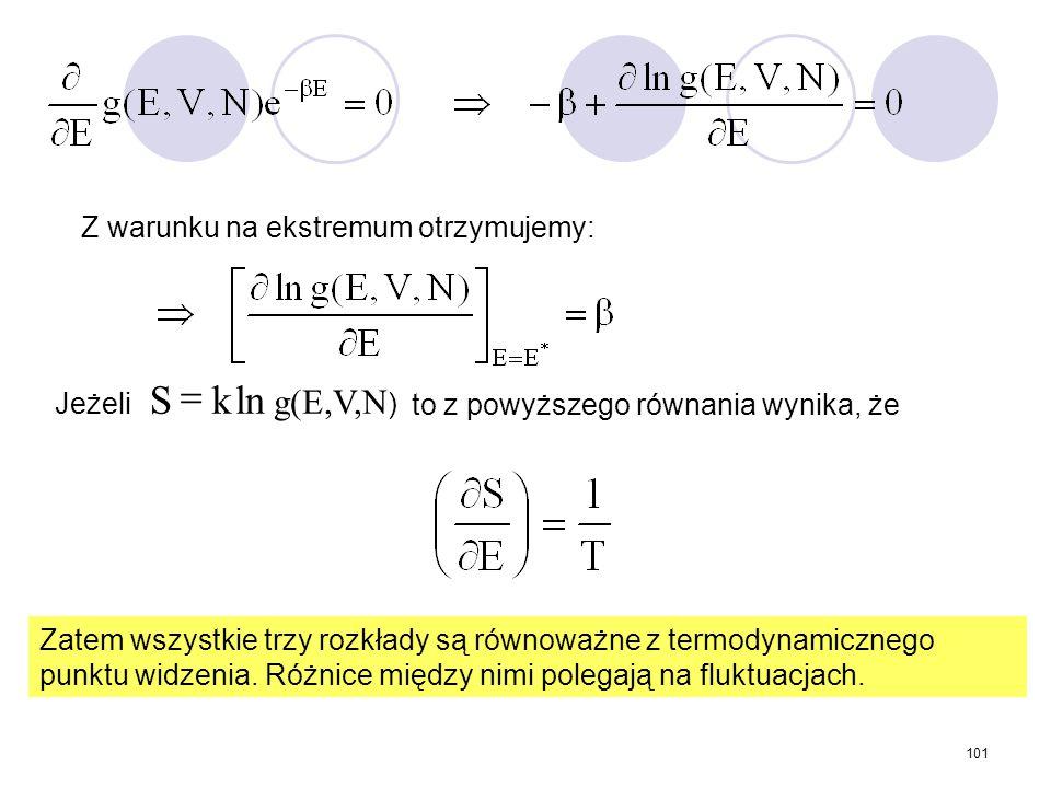101 Z warunku na ekstremum otrzymujemy: Jeżeli to z powyższego równania wynika, że Zatem wszystkie trzy rozkłady są równoważne z termodynamicznego pun