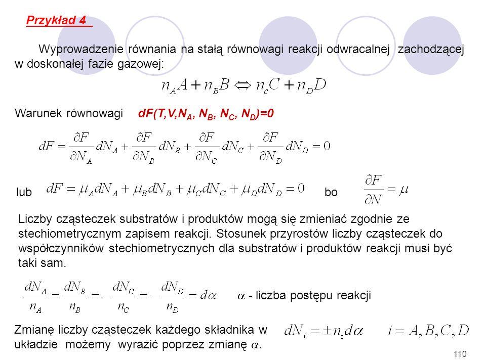 110 Wyprowadzenie równania na stałą równowagi reakcji odwracalnej zachodzącej w doskonałej fazie gazowej: Warunek równowagi dF(T,V,N A, N B, N C, N D