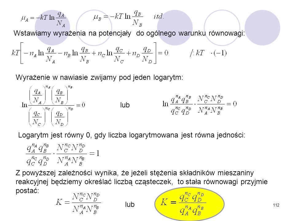 112 Wstawiamy wyrażenia na potencjały do ogólnego warunku równowagi: Wyrażenie w nawiasie zwijamy pod jeden logarytm: Logarytm jest równy 0, gdy liczb